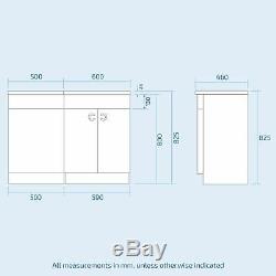 Ingersly Salle De Bains Gris Bassin Évier Meuble Sous Lavabo Retour Au Wc Mur Toilettes Rh 1100mm