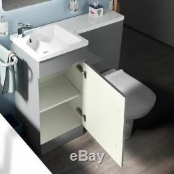 Ingersly Salle De Bains Gris Clair Bassin Évier Lh Wc Unité Vanity Retour Au Mur Toilettes