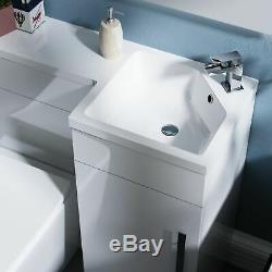 Inton 900mm Salle De Bain Bassin Blanc Rh Unité Vanity Rimless Retour Au Wc Mur Toilettes
