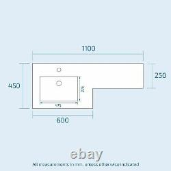 Lonel Grey Bathroom Vanity Unit Lh Basin Meubles Wc Back To Wall Toilet 1100mm
