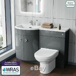 Manifold Salle De Bains Bassin Évier Vanity Grey Retour Au Wc Mur Toilettes Lh 1100mm