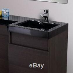 Melbourne Salle De Bains Rh P-forme Chêne Foncé Bassin Wc Vanity Unit Retour Au Mur Toilettes