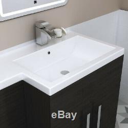 Meuble De Salle De Bains Et Meuble Combinés Gris Hr + Toilettes À L'arrière Du Mur