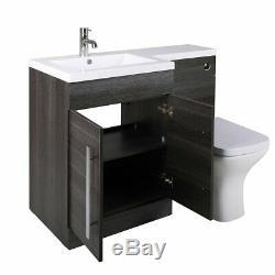 Meuble-lavabo De Salle De Bain Combi Design Gris Lh Avec Lavabo + Toilette Murale