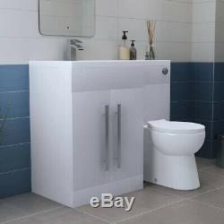 Meuble-lavabo De Salle De Bain Combiné Design Blanc Lh Avec Lavabo Et Toilette Murale