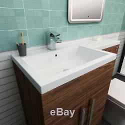 Meuble-lavabo De Salle De Bains Design Combiné Noyer Lh Avec Lavabo Et Toilettes Suspendues Au Mur