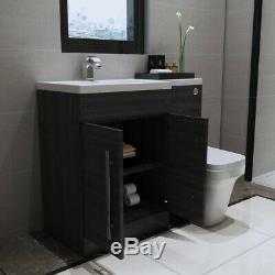 Meuble-lavabo Et Lavabo Avec Ensemble De Salle De Bain Gris Lh + Toilettes Mur À L'arrière