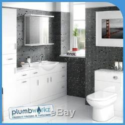 Meubles De Salle De 450mm Meuble Sous Lavabo Cabinet Toilettes Bassin Retour À Wc Unité Murale