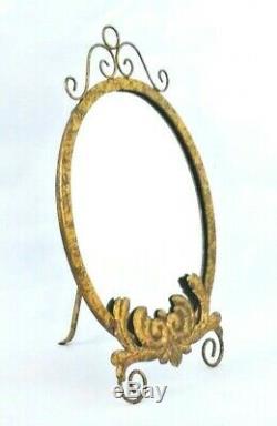 Miroir D'or / Vanity Mirror / Métal / Chevalet Retour / 18 X 11 Po Grand Large /