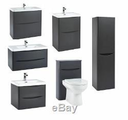 Moderne Matt Grey Bathroom Furniture Meuble Sous Lavabo Bassin De Stockage Wc Cabinet