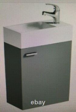Nouveau, Gris, Unité De Toilette De Dos Au Mur, Citerne Cachée Et Unité De Vanité Suspendue Par Mur