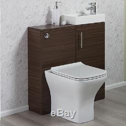 Noyer Salle De Bains Vanity Basin Sink Retour Au Mur Toilettes Unité Wc Meubles