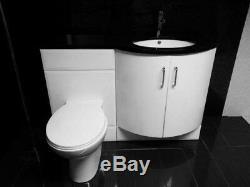 P En Forme De Salle De Bains Complète Suite Vanity Unité Retour À Wall Toilettes Et Écran