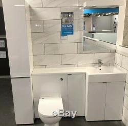 Plat Nouveau Paniers -gloss Blanc Vanity Basin, Cabinet, Placard & Wc Retour Au Mur