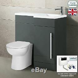 Relovane 900mm L Forme Main Droite Salle De Bains Gris Vanity Basin Dos Au Mur Toilettes