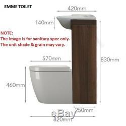 Retour À 1200mm Murale Noyer Unité Du Robinet Toilette Vanité Lavabo Blanc Et 5h12w Citerne