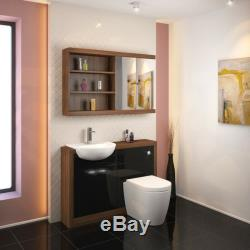 Retour À 1200mm Murale Noyer Unité Du Robinet Toilette Vanité Lavabo Noir Et 5h12b Citerne