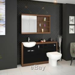 Retour À 1500mm Mur Noyer Lavabo Noir Tireuse De Toilette Avec Réservoir 4l15b