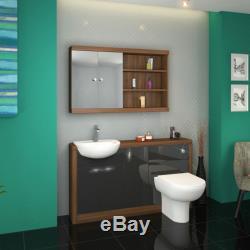 Retour À 1500mm Murale Noyer Unité De Robinet Toilette Lavabo Grise Avec Réservoir 4l15g
