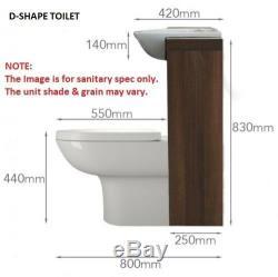 Retour À 1500mm Murale Noyer Unité De Robinet Toilette Lavabo Grise Avec Réservoir 4l15w