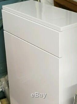 Retour À L'unité De Vanité Toilettes Mur, Blanc Brillant