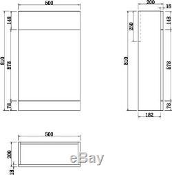 Retour À Wall Btw Salle De Bains Toilettes Unité Vestiaire Mdf Cabinet Wc Blanc Brillant 500mm