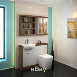Retour Au Mur 1200mm Noyer Toilette Vanité Lavabo Blanc Unité Btw Et 3h12w Citerne
