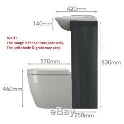 Retour Au Mur 1500mm Dérive Unité Du Robinet Toilette Vanité Lavabo Grise Et 5h15g Citerne