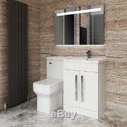 Retour Au Mur Blanc Vanity Toilettes Meuble De Rangement Bassin Évier Salle De Bains Combinés Suite