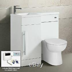Runole 900mm Lh Salle De Bains Blanc Vanity Meubles Wc Bassin Dos Au Mur Toilettes