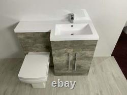 Salle De Bain Vanity Unit Béton Beige Meubles Suite Retour Au Mur Wc Toilettes, Bassin