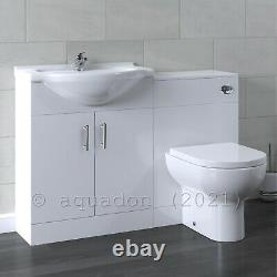 Salle De Bain Vanity Unit & Retour Au Mur Wc Toilette Unit 1150 Pan Options 650 +500