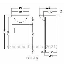 Salle De Bains 450mm Vanity Unit Sink Basin Linton Back To Wall Toilet Furniture Suite