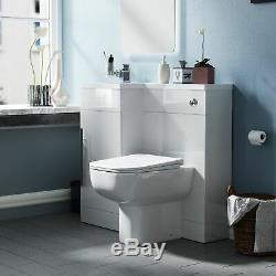Salle De Bains 900 MM Blanc Lh Bassin Wc Évier Lavabo Unité Dos Au Mur Toilettes Debra