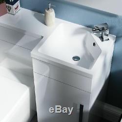 Salle De Bains 900 MM Blanc Rh Bassin Évier Wc Lavabo Unité Retour À Wall Toilettes Debra