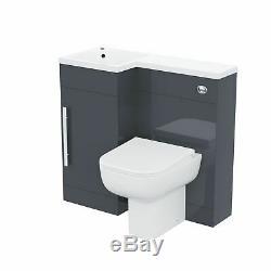 Salle De Bains 900 MM Gris Lh Bassin Wc Évier Lavabo Unité Dos Au Mur Toilettes Debra