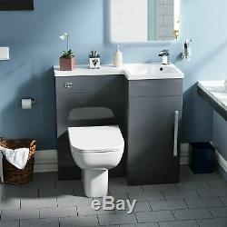 Salle De Bains 900 MM Gris Rh Bassin Évier Wc Lavabo Unité Retour Au Mur Toilettes Lovane