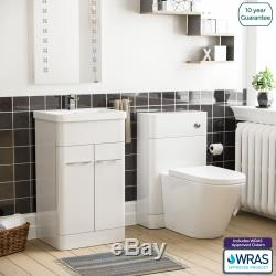 Salle De Bains Bassin Évier Blanc Vanity Cabinet Unité Et Retour À Wc Mur Toilettes Torex
