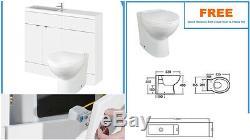 Salle De Bains Cabinet Dos Au Mur Toilettes Bassin Évier Suite Unité Combi Vanity Blanc 11