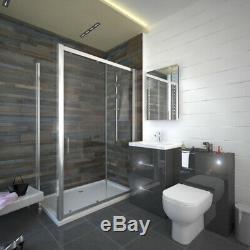 Salle De Bains Complète Vestiaire Fémoro Gris Brillant Unité De Stockage Vanity Suite Option