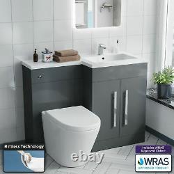 Salle De Bains Gris Rh Bassin Wc Meuble Sous Lavabo Retour Au Mur Toilettes 1100mm Aric