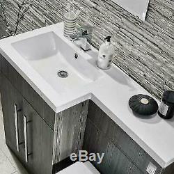 Salle De Bains Gris Vanity Furniture Basin Retour Au Mur Toilettes Unité Mixte