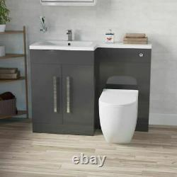 Salle De Bains Main Gauche Gris Bassin Wc Vanity Unité Retour Au Mur Toilettes 1100mm Aric