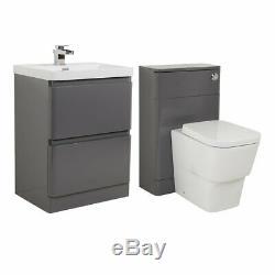 Salle De Bains Moderne Gris Brillant Autoportant Vanity Unit & Dos Au Mur Toilettes Suite