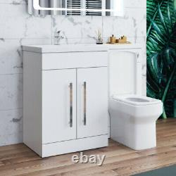 Salle De Bains Retour À Toilettes Monoblocs Unité Blanc Vanity Évier Bassin Cabinet