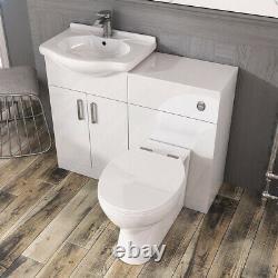 Salle De Bains Traditionnelle Vanity Unit Basin Unit Storage Wc Gloss White 550mm