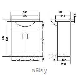 Salle De Bains Unité Vanity 650mm Basin Sink Linton Retour À Wall Toilettes Suite Meubles