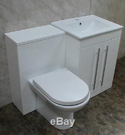 Salle De Bains Vanity Retour Au Mur Wc Wc Robinet Bassin Cuvier 1100mm Blanc