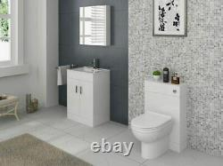 Salle De Bains Wc Unit Vanity Back To Wall Furniture White High Gloss Modern 500/300mm