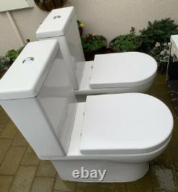 Saneux Air Open Back Rimless Close Coupled Soft Close Toilet + Vanity Sink Unit